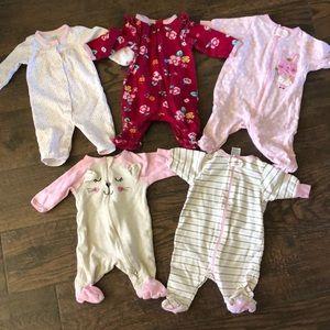 Lot of 5 baby girl sleepers
